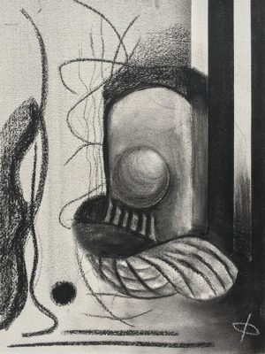 Amorphous Abstract Charcoal Drawing nicknamed 'David Bowie'