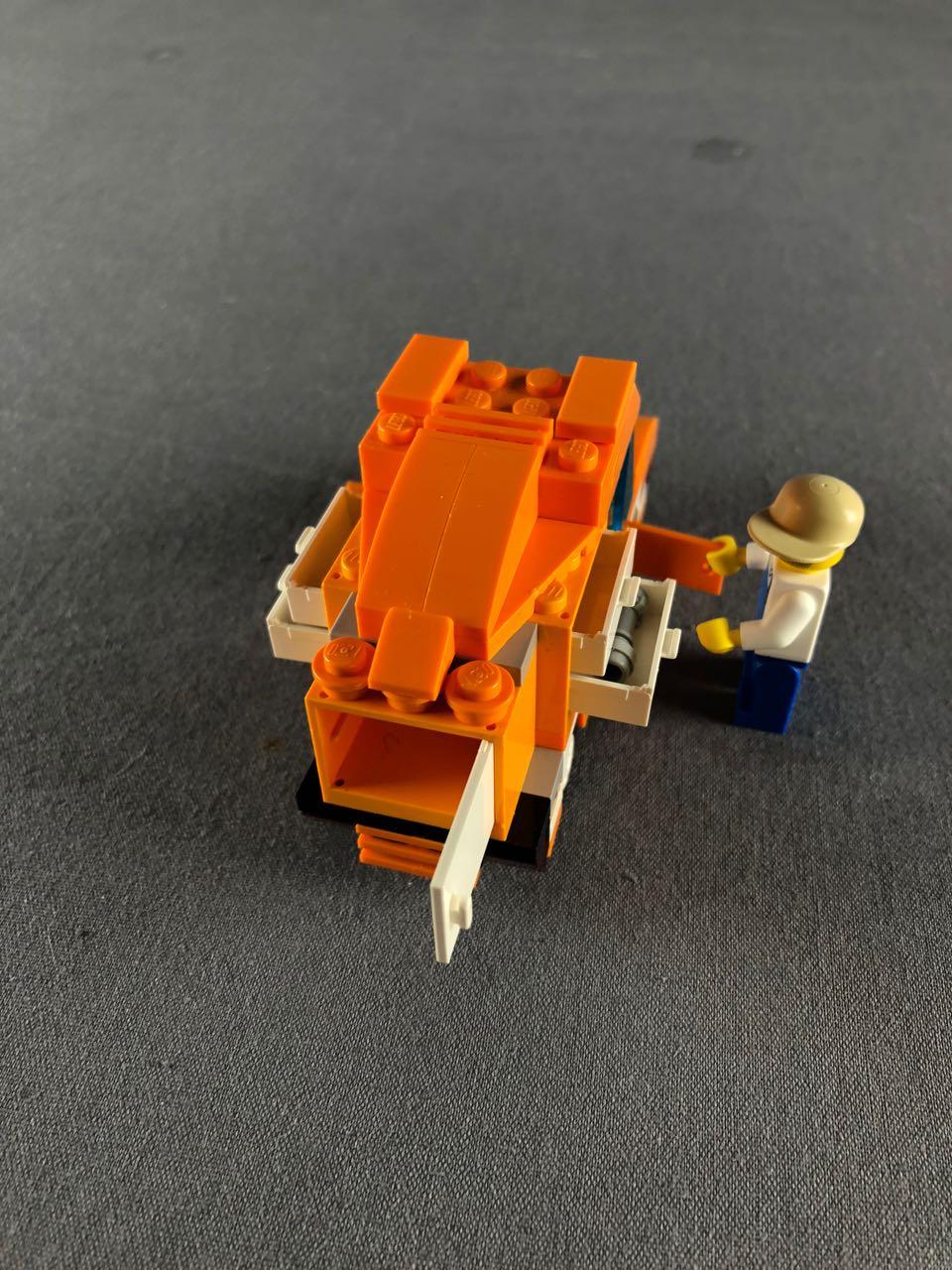 top rear view of tangerine truck