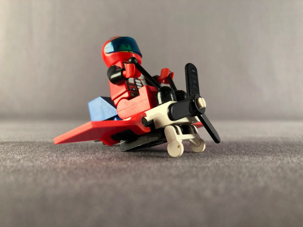 3/4 view of tiny lego plane