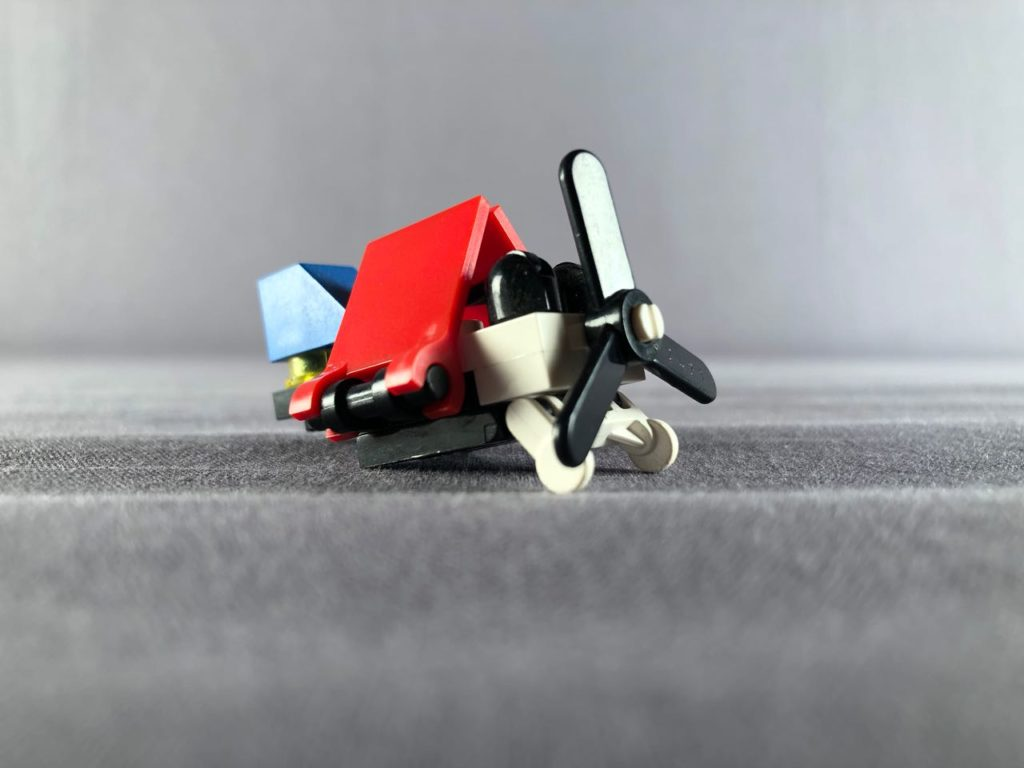 wings of tiny plane folded in